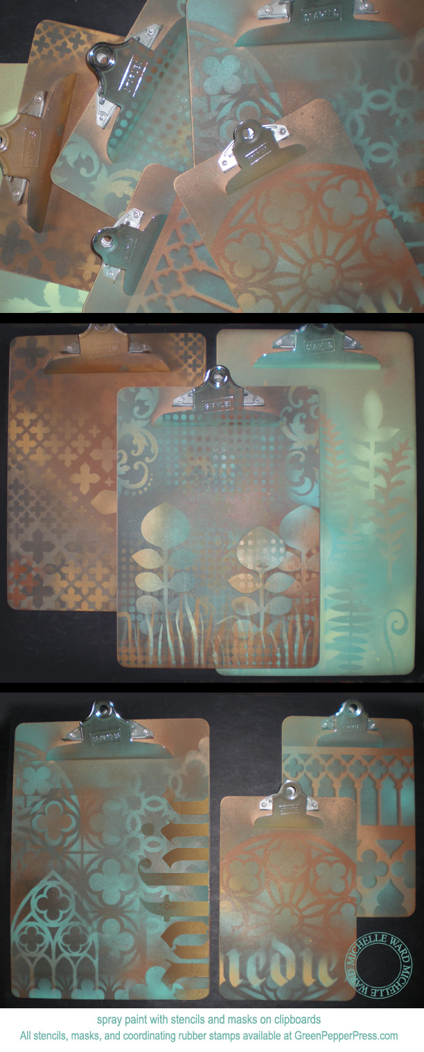 Michelle Ward spraypainting with stencils on clipboards