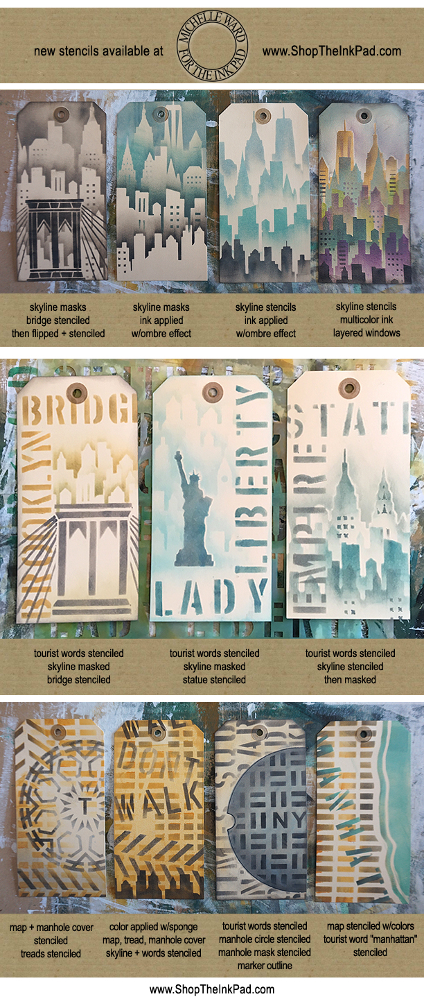 MichelleWard Ink Pad tag stencil samples