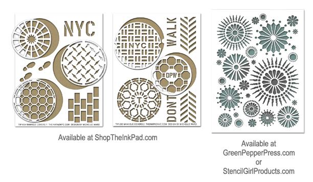 Michelle Ward manhole coasters stencils